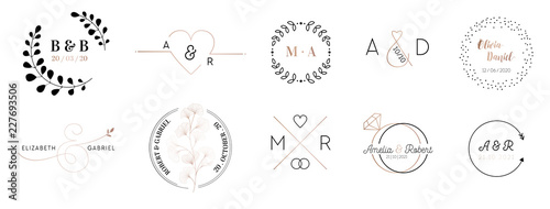 Leinwand Poster Wedding monogram logos collection, hand drawn modern minimalistic and floral tem