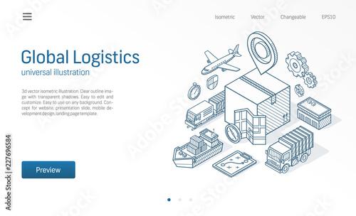 Fotomural Global logistic service modern isometric line illustration