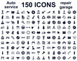 Auto service, car garage 150 isolated icons set – stock vector