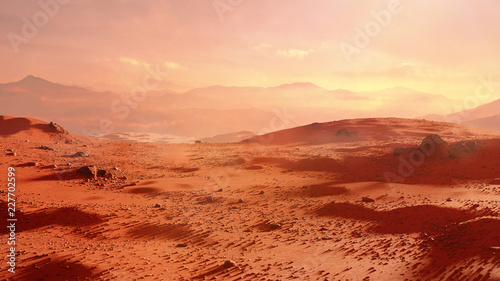 landscape on planet Mars, scenic desert scene on the red planet