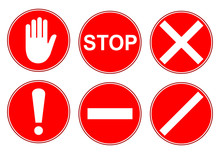 Set Stop Red Sign Icon - Stock...