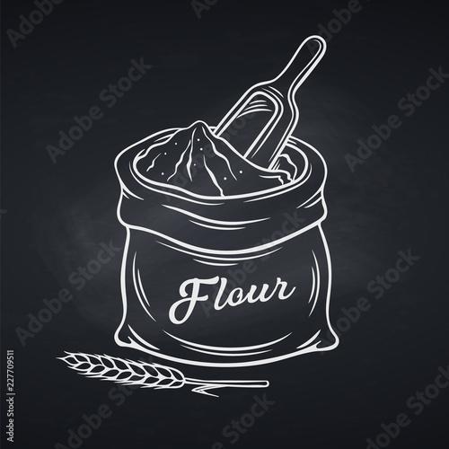 Obraz na płótnie Hand drawn bag of flour
