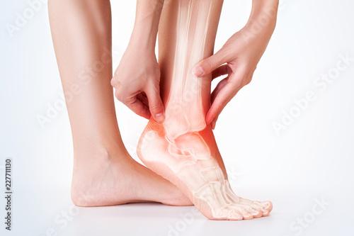 Fotografia  Ankle pain, foot painful point.