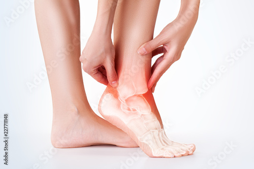 Pinturas sobre lienzo  Ankle pain, foot painful point.