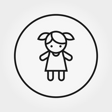 Doll. Toy. Universal Icon. Vector. Editable Thin Line.