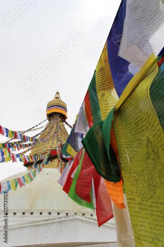 Staande foto Nepal The colorful prayer flags of Boudhanath Stupa in Kathmandu