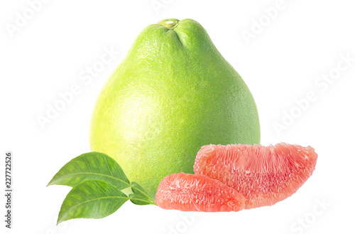 The Ruby of Siam pomelo fruit isolated on white background, include clipping pat Canvas