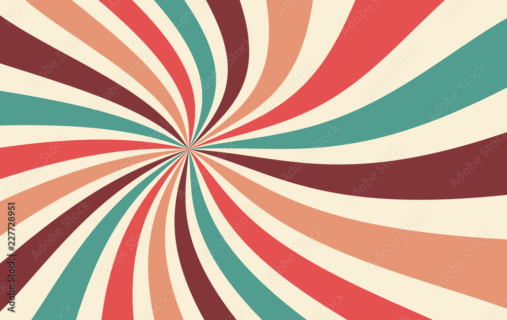 retro starburst or sunburst background vector pattern with a vintage color palette of red pink peach teal blue brown and beige in a spiral or swirled radial striped design
