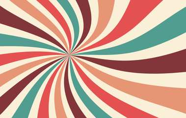 retro starburst or sunburst background vector pattern with a vintage color pa...