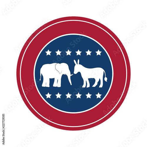 Fotografie, Obraz  Isolated donkey and elephant of vote design