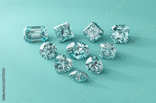Fotografía  Ten diamonds of the most popular cut shapes on tiffany blue background