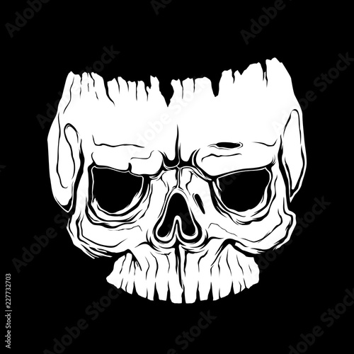 043e564d208 Anatomically correct human skull isolated. Hand drawn line art vector  illustration. tattoo design. life and dead. sticker template. skull mask.  isolated .
