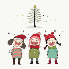 Three Kids Singing Christmas C...