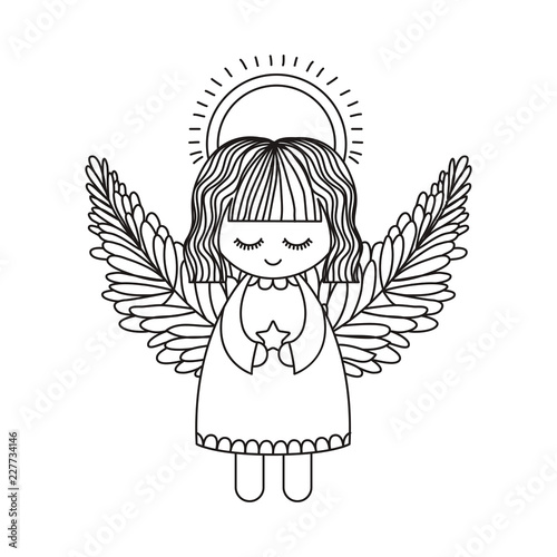 Photo Angel cartoon of christmas season design