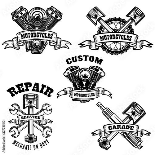 Set Of Motorcycle Repair Emblems Motor Tools Piston Design