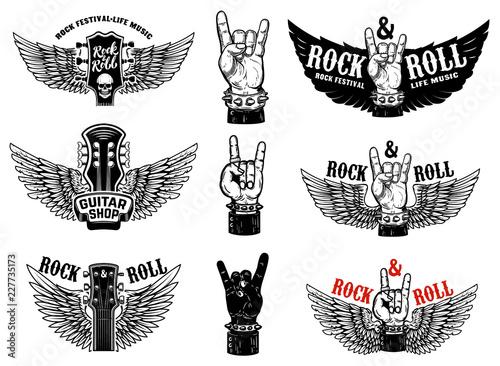 Fotomural Set of vintage rock music fest emblems