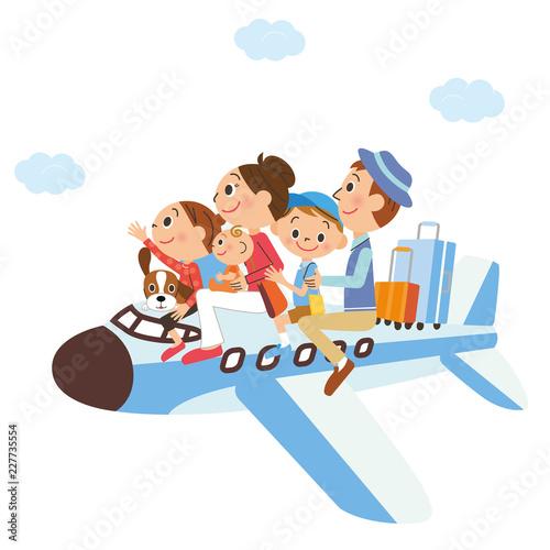 飛行機に乗る家族 Canvas Print