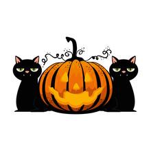 Happy Halloween Pumpkin With Black Cats