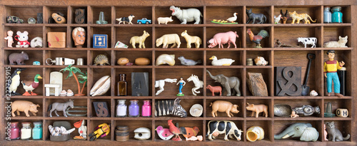 Valokuva Printers Oddments Tray Displaying Collection of Old Toys