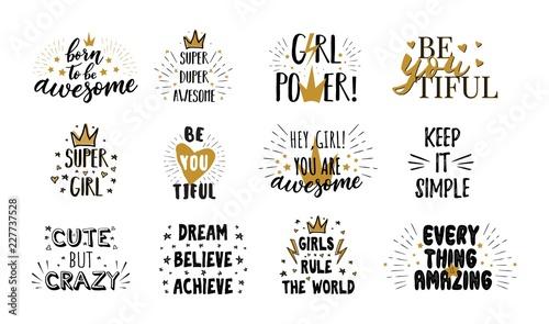 Fotografía  Vector mega set of  girl slogans