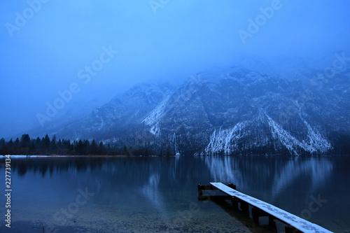 Lake Bohinj in the winter mist