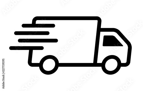 Fast moving shipping delivery truck line art vector icon for transportation apps Canvas Print