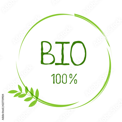 Photo Bio healthy organic food label and high quality product badges