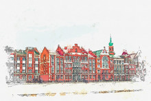 Watercolor Sketch Or Illustration Of Traditional European Architecture In The Belgian Style. Colored Houses In A Row.
