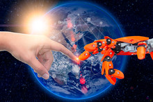 Robotic Engineering Connected To People For Future Around The World Concept. Elements Of This Image Furnished By NASA.