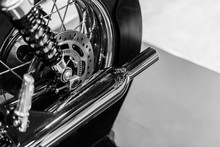 Vintage Motorcycle Engine Exhaust Pipes Retro Style Chrome Black And White Art Tone