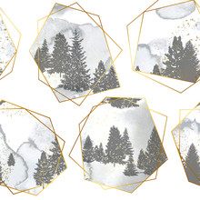 Seamless Pattern With Silhouettes Forest Trees,gold Geometric Shapes And Watercolor Texture.Vector Illustration