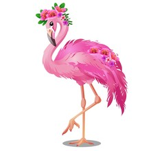 Beautiful Bird Pink Flamingo With Flowers Isolated On White Background. Vector Cartoon Close-up Illustration.