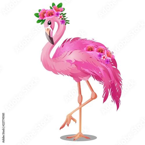 Fototapeta premium Piękny ptak Pink Flamingo z kwiatami na białym tle. Szczegół ilustracja kreskówka wektor.