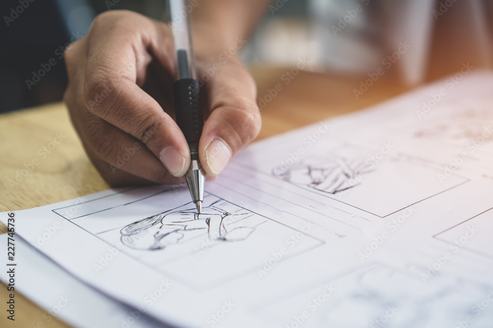 Fototapety, obrazy: Storyboard or storytelling drawing creative for movie process pre-production media films script for video editors, Student hand writing graphic organizer in form of illustrations displayed in sequence