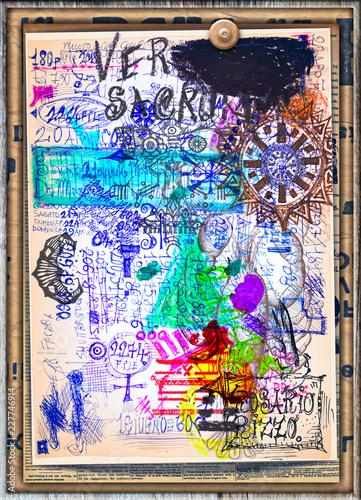 Foto op Aluminium Imagination Sfondo con manoscritti,macchie,caratteri e disegni.