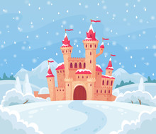 Fairy Tales Winter Castle. Magical Snowy Landscape With Medieval Castle Cartoon Vector Background Illustration