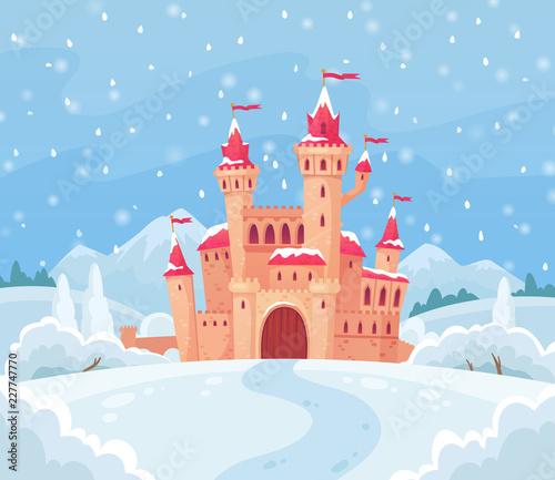 Zimowy zamek bajki. Magiczny śnieżny krajobraz z średniowiecznej grodowej kreskówki tła wektorową ilustracją