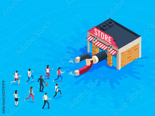 Store attraction customers Wallpaper Mural