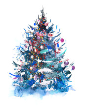 Decorated Christmas Tree New Year Watercolor Illustration