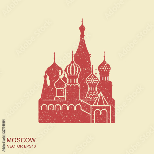 Saint Basil cathedral , Moscow, vector flat icon