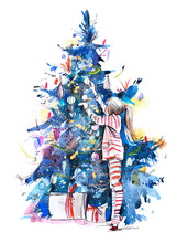 Little Girl Decorating Christmas Tree With Toys And Baubles. New Year. Kid Preparing Home For Xmas Celebration. Watercolor