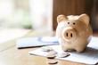 Leinwanddruck Bild - Piggy bank with coins and saving book bank