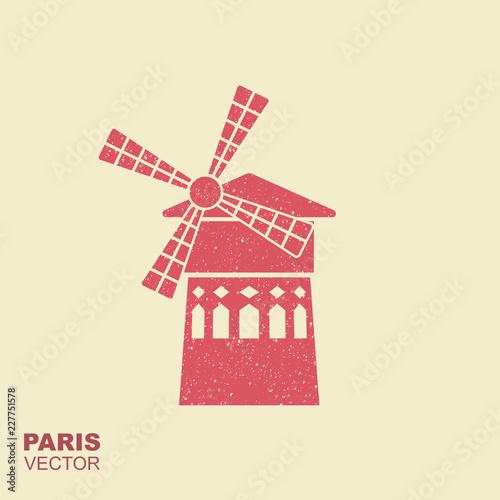 Photo Famous landmark Moulin Rouge Paris France. Vector flat icon