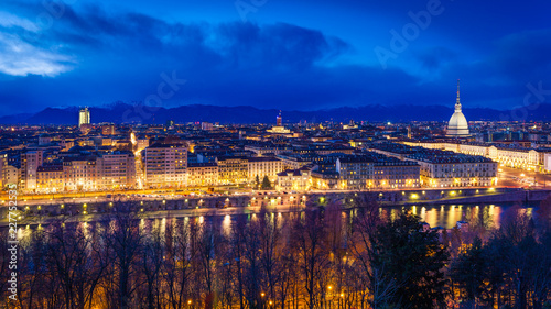 Fotobehang Lavendel Panoramic view of Turin with Mole Antonelliana against snow capped Alps at dusk, Turin, Italy