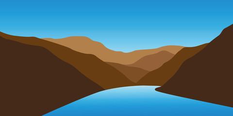 Fototapeta na wymiar blue creek between mountains landscape