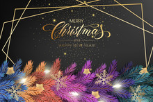 Holiday's Background For Merry Christmas Greeting Card With A Realistic Colorful Garland Of Pine Tree Branches, Decorated With Christmas Lights, Gold Stars, Snowflakes