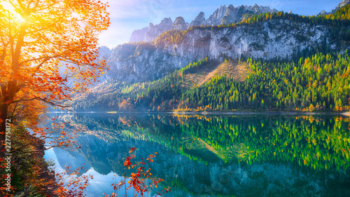 Tuinposter Meer / Vijver autumn scenery with Dachstein mountain summit reflecting in crystal clear Gosausee mountain lake