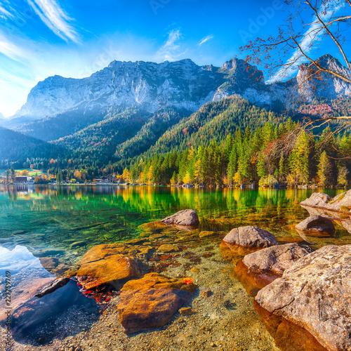 Fantastic autumn sunny day on Hintersee lake Wall mural