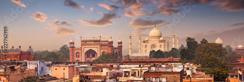 Photo Panorama of Taj Mahal view over roofs of Agra