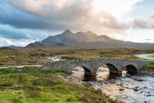 Sligachan Bridge And The Cuillins, Isle Of Skye At Sunset